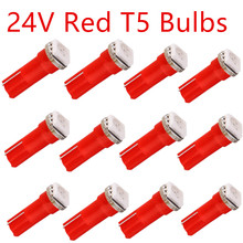 20 x Car Interior Light 24V 12V T5 1smd 5050 Dashboard Wedge led daytime signal Lighting Bulb Lamp Red/Blue/Green/Ice Blue/White