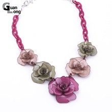 2017 Spring New Collection Fashion Beautiful Resin Clover Flower Necklaces & Pendants For Young Girl Gift Jewelry(China)