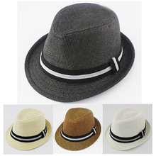 Fashion Kids Hat Baby Boy Summer Sun Cap Sunhats Children Straw Fedora Hat Infant Jazz Cap Dicers 10pcs MH041(China)