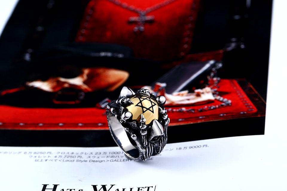 แหวนโคตรเท่ห์ Code 025 แหวนดาว6แฉกอุ้งมือมังกร สแตนเลส9