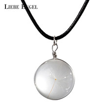 LIEBE ENGEL Newest Fashion Dried Dandelion Ball Pendant Necklace Black Wax Rope Chain Statement Necklace for Women Best Jewelry(China)