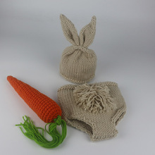 Newborn Photography Props Bunny Crochet Knitting Costume Set Rabbit Hats and Diaper Beanies and Pants Newborn Outfits Accessory(China)