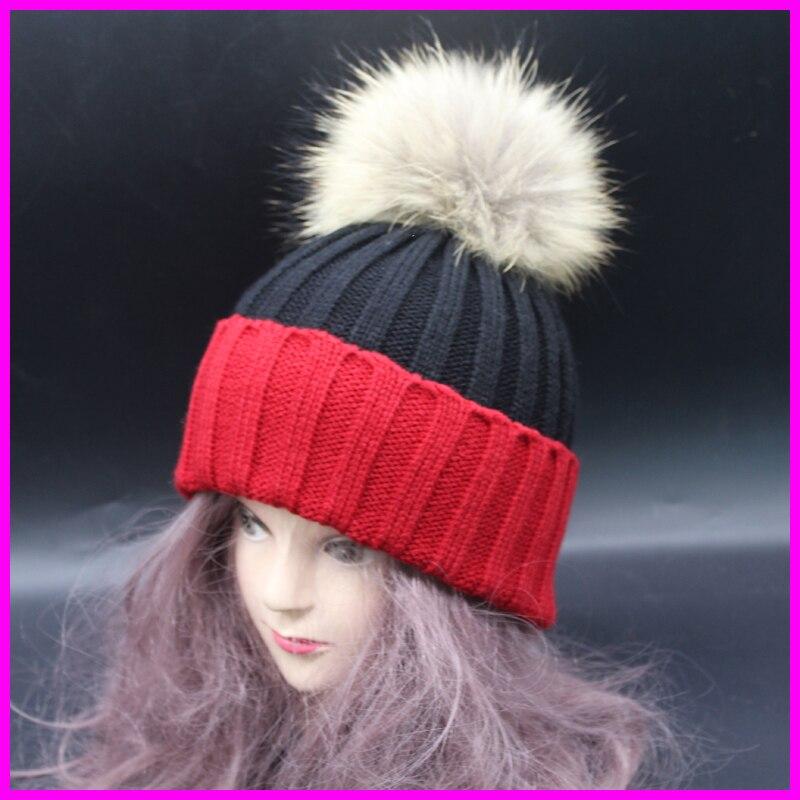 Fur Pom poms Beanies Winter Raccoon Fur Hats For Women Patchwork Knitting Female Girl Cap Luxury Brand HatОдежда и ак�е��уары<br><br><br>Aliexpress