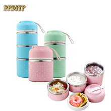 Cute Mini Portable Japanese Bento Box Leak-Proof Stainless Steel Thermal Lunch Boxs For Kids Picnic Container For Food Storage