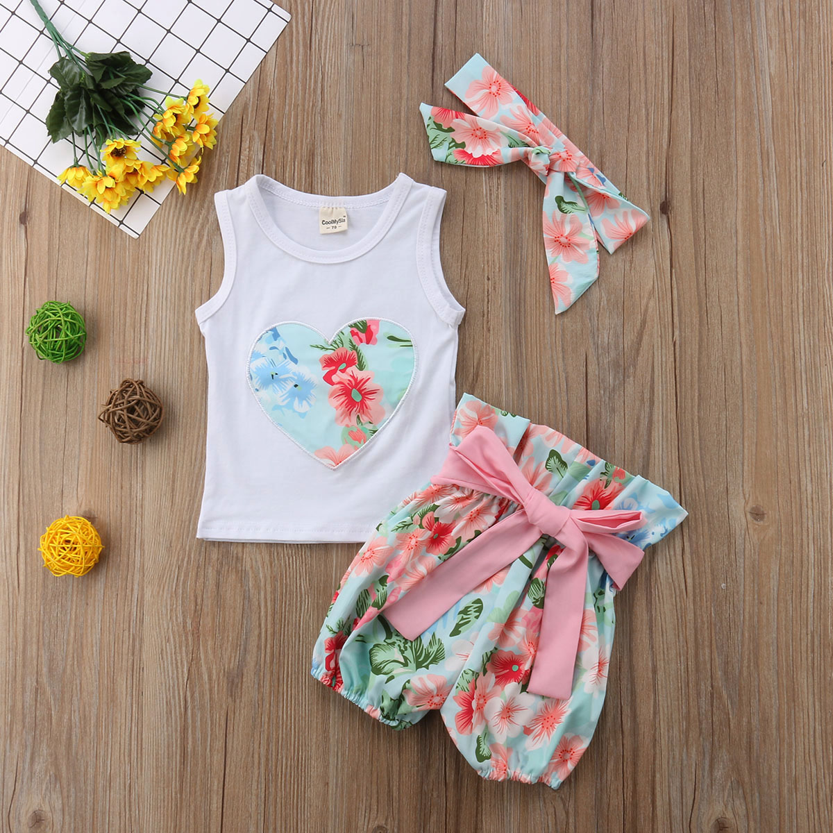 Newborn Toddler Kids Baby Girls Floral Clothes Tops Vest Sleeveless Shirt Bowkont Shorts Outfits Set Cotton Baby Girl 1-5T