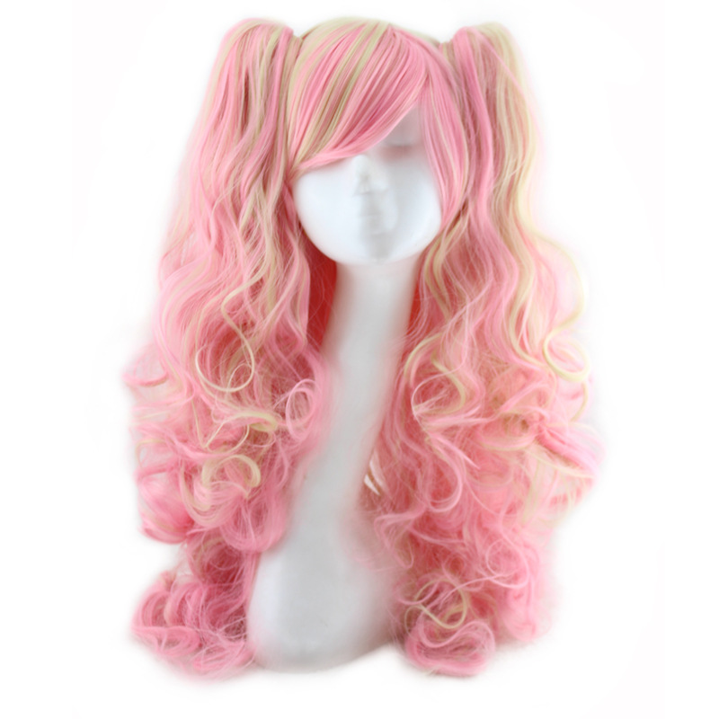 60 Cm Harajuku Lolita Wig Anime Cosplay Curly Wavy Clip On 2 Ponytails Synthetic Hair Pink Mixed Yellow Peruca Peruke H024<br><br>Aliexpress
