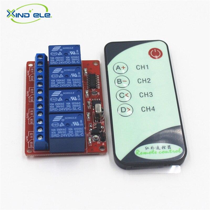 XIND ELE 4 way 24V DC IR Remote Self-lock Switch Module + 5-key Remote For Home Auto Light Garage Door #IR24-4SM+PM5#<br><br>Aliexpress
