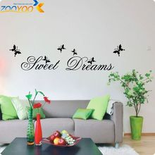 Sweet Dream butterflies quote for home decor living room bedroom wall decal 2002 decorative pvc wall sticker(China)