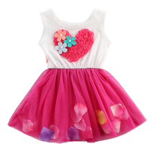 Newborn Baby Kids Girls Princess Girl Dresses Clothes Fashion Beautiful Love Petal Flower Tulle Fancy Dress Clothing Kids Girls
