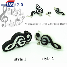 2 styles Cartoon Note De Musique Usb Flash Drive Musical notes Pen Drive 4GB/8GB/16GB/32GB memory Disk(China)