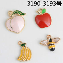 Wholesale 50PCs/Lot Gold Color Fruit Apple Peach Banana Pendant Bee Charm Oil Drop Charms Enamel For DIY handmade Jewelry(China)