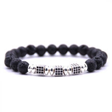 HONEYYIYI 8mm Natural stone Bracelets & Bangles Silver Micro Pave CZ Rubik's Cube Charms Bracelet For Women pulseras(China)