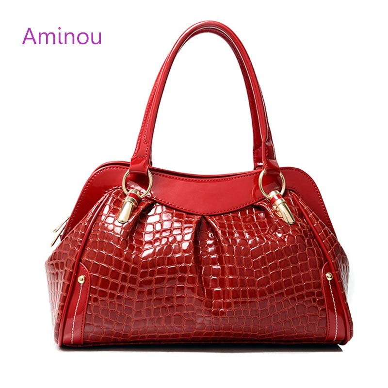 2017 Brand Design Crocodile Pattern Women Tote Bag Soft Hobos Bolsa Femme Fashion Ladies Patent Leather Shoulder Bags Organizer<br><br>Aliexpress