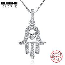 ELESHE Mother Gift 925 Sterling Silver Fatima Hamsa Hand Necklace The Only Palm Love Heart Pendant Necklace for Women Jewelry(China)