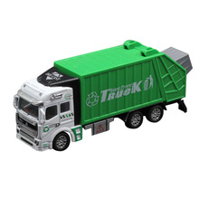 Funny Chirldren 2017 Toy Alloy Sanitation Engineering Vehicle Simulation Garbage Truck Model for Children with 1pc Rubbish Bin