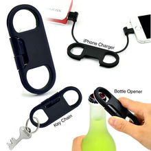 Hot Sale multi-funtion Key Chain Bottle Opener USB Cable For iPhone 5 / 5C / 5S / 6 / 6Plus / iPad Charging Cable Free Shipping