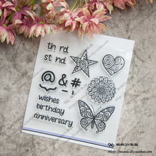 Scrapbook DIY photo album card hand account chapters rubber product transparent seal stamp love butterfly
