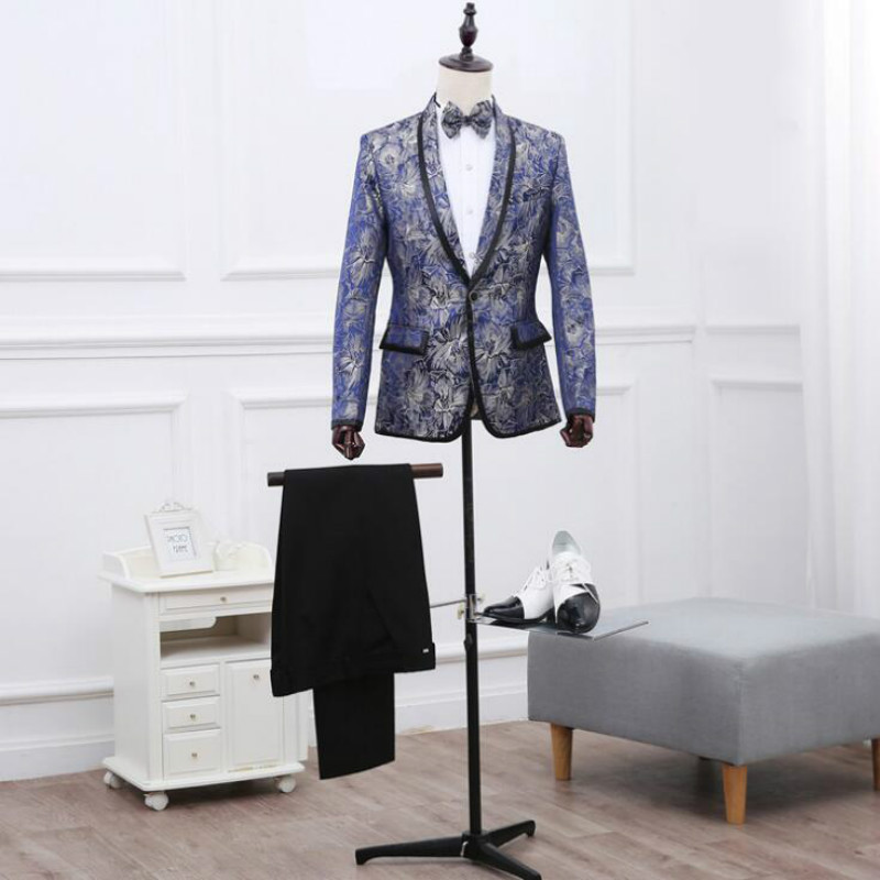Men's suit nightclub blue printed single-breasted dress suit suit male British wind Slim hosted costumes