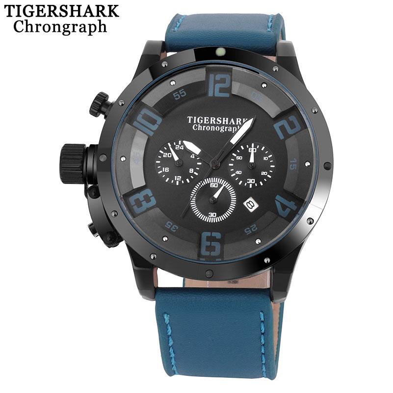 2017 new TIGERSHARK china brand Men watches sport chronograph black dial Arabic numbers quartz clock leather band waterproof<br><br>Aliexpress