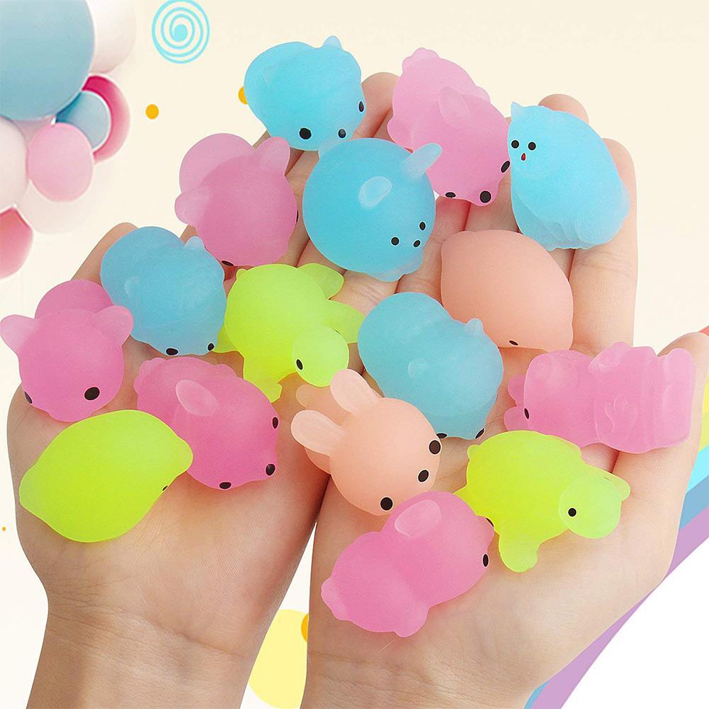 50 pcs Fluorescent Squishy Mochi Squeeze Toys 6