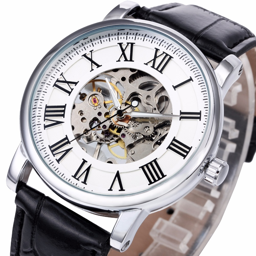 Women Business Luxury Hand-wind Mechanical Wrist Watch Leather Band Roman Number Skeleton Movement + BOX<br><br>Aliexpress