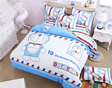 3/4pcs Doraemon Hello Kitty Kids Cartoon Bedding Set British/American Flag Duvet Cover Bed Sheet Pillowcase Bed Linen Bedclothes