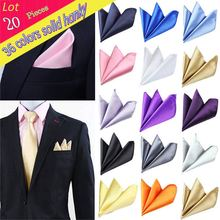 (20 pcs/lot) Wholesale Man Solid Plain Satin Polyester Silk Handkerchief Pocket Square Chest Towel Wedding Party Christmas Hanky