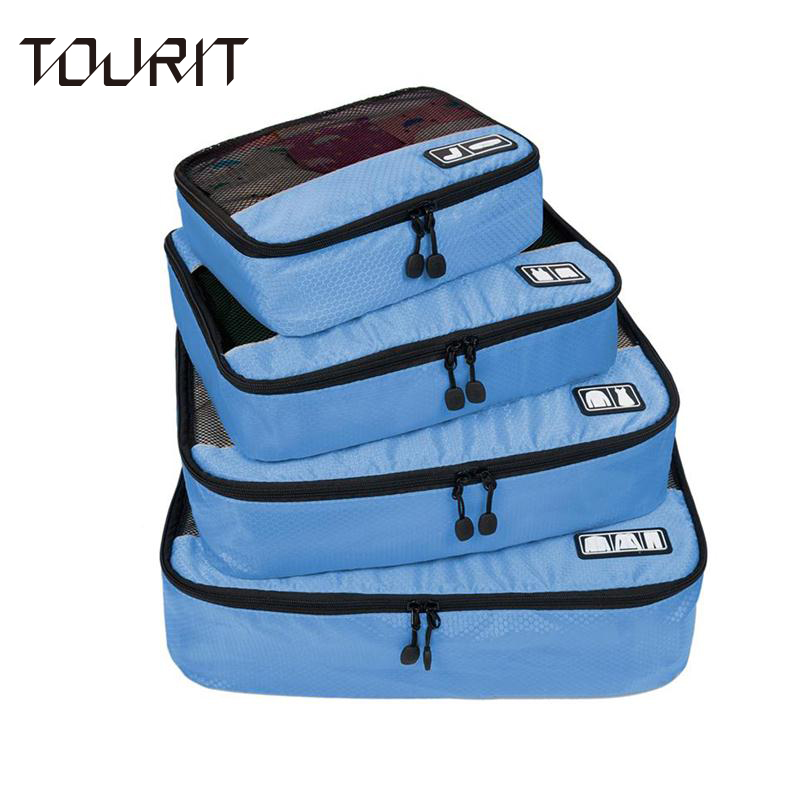 "TOURIT New Breathable Travel Bag 4 Set Packing Cubes Luggage Packing Organizers with Shoe Bag Fit 23"" Carry on Suitcase(China (Mainland))"