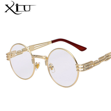 Gothic Steampunk Sunglasses Men Women Metal WrapEyeglasses Round Shades Brand Designer Sun glasses Mirror High Quality UV400(China)
