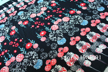 150cm width Paris pearl fabric big flowers pattern black background can't see through for skirt suit-dress headband CH-7090