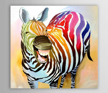 Oil Painting Hand Painted Modern Abstract Decoration Laughing Zebra Oil Painting Animal Art Canvas Set Wall Painting(China)
