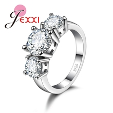 JEXXI Imitation Gemstone Three Round Stone Ring Women Bridal 925 Sterling Silver Circel Finger Rings Bijoux Anillo Accessories