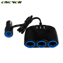Onever 1 to 3 Car Cigarette Lighter Socket Splitter Hub Power Adapter 12V-24V with 3 USB 5V/3.1A for iPhone iPad Samsung