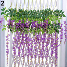 Artificial Wisteria Flowers Vine Silk Flower Wedding Garden Party Hanging Decor