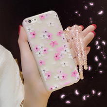For iPhone 6/6s plus 7 7plus Rhinestone Cherry Phone Case Pearl Neck Lanyard Mobile Strap TPU Soft Back Cover