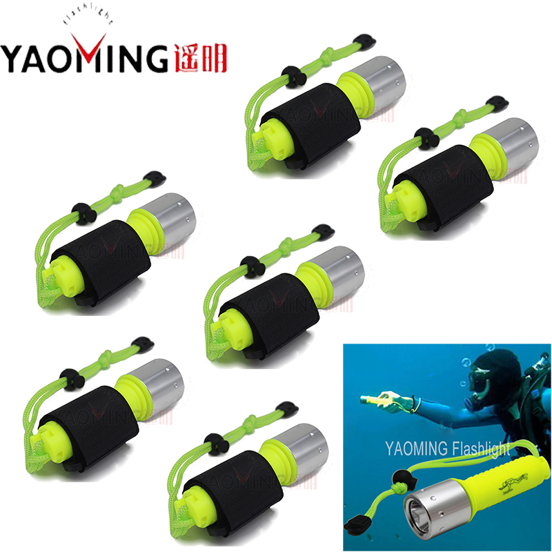 Wholesale 6 Pcs CREE XM-L T6 Led 10W Diving Flashlight Linternas Underwater 50M Waterproof Lamp Torch by 18650<br>