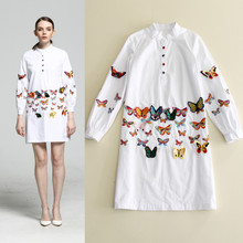 and summer 2017 Couture Fashion genuine collar long sleeved single breasted butterflies embroidered shirts