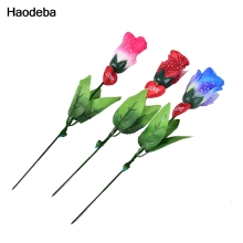 Haodeba 1PCS Rose Flower LED Light Up Valentine's Mothers Day Gift Birthday Party Supplies Wedding Decoration Random color(China)
