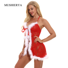 Buy Women Fur Trim Lingerie Sexy Hot Erotic Lace Santa Christmas Babydoll Set Deep V Neck Backless Costume Nightwear G-String