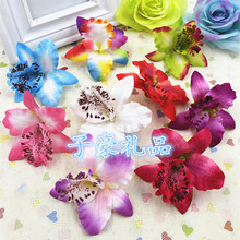 Wholesale fake flower 100pcs/lot 7cm Diy orchid artificial flower silk phalaenopsis orchid cloth flower Home decoration flower