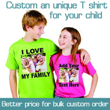 Custom Printed Personalized Girls T-Shirts designer logo Boys t shirt Advertising white tshirt short-sleeve Cotton blank tees