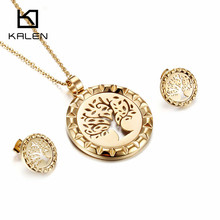 Kalen Unique Jewelry Set Stainless Steel Dubai Gold Color Hollow Acacia Tree of Life Pendant Necklace & Earrings Set Women Gift