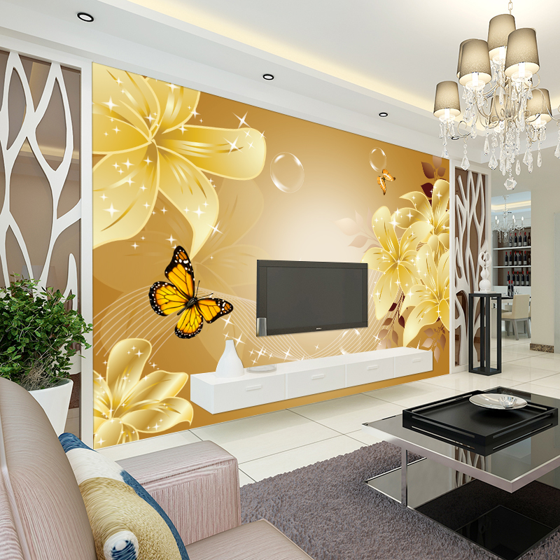 3d stereo lilies TV background wallpaper wallpaper living room bedroom sofa wall mural European nonwoven fabric<br><br>Aliexpress