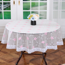 2015 Oilproof PVC Table Cloth Plastic Tablecloth Waterproof Coffee Round Table Cover Overlay Diameter 180cm/210cm Free Shipping