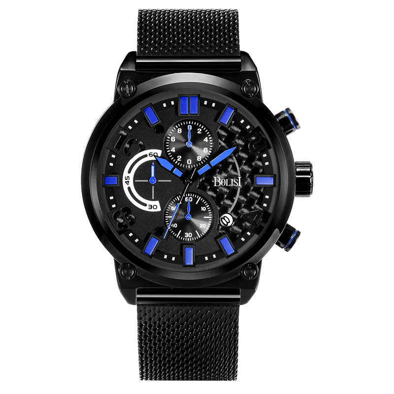 Business Mens Watches Chronograph Quartz Watches With Metal Watch strap of Complete Calendar<br>
