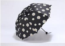 2016 Small fresh chrysanthemum vinyl umbrellas folded dual sunny umbrella folding umbrella creative women free shipping LH888