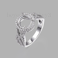 Solid 14K Gold Ring With Diamonds 7.6mm Round Ring Setting For Girl G090458