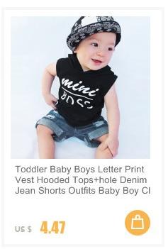 Toddler Infant Baby Boys Letter Print Vest Tops+Hole Denim Jean Shorts Outfits