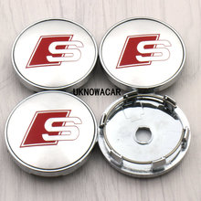 4pcs/lot S line Sline Car Wheel Hub Cap Center Caps 60 For audi A3 A4 A5 A6 A7 A8 S3 S4 S5 S6 S7