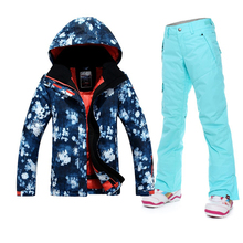 2016 New Women Ski Suit Winter Sports Outdoor Coats And Pants Sale Snowboarding Jacket Pants One Set Cheaper Price Guarenteed